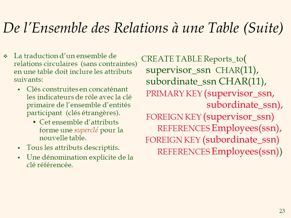 De l'Ensemble des Relations à une Table (Suite)