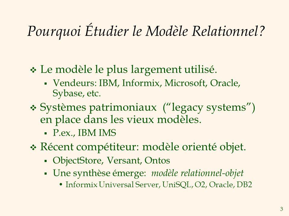 Pourquoi Étudier le Modèle Relationnel