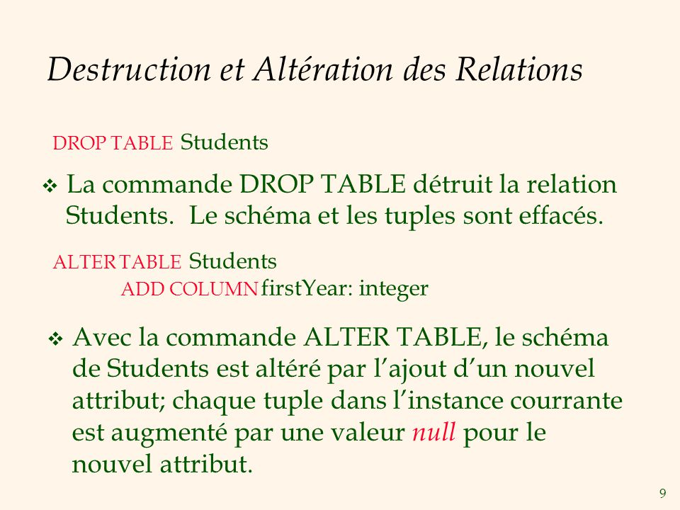 Destruction et Altération des Relations