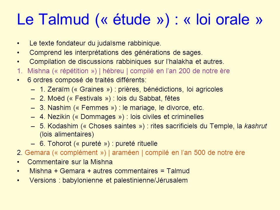 Le Talmud (« étude ») : « loi orale »