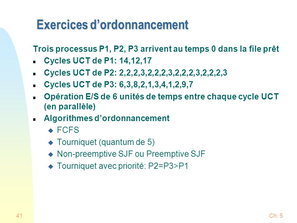 Exercices d'ordonnancement