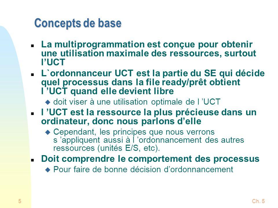 Concepts de base La multiprogrammation est conçue pour obtenir une utilisation maximale des ressources, surtout l'UCT.