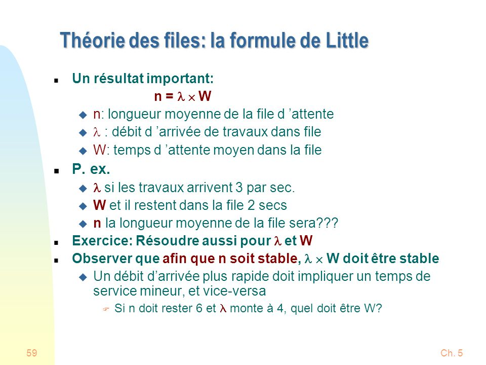 Théorie des files: la formule de Little