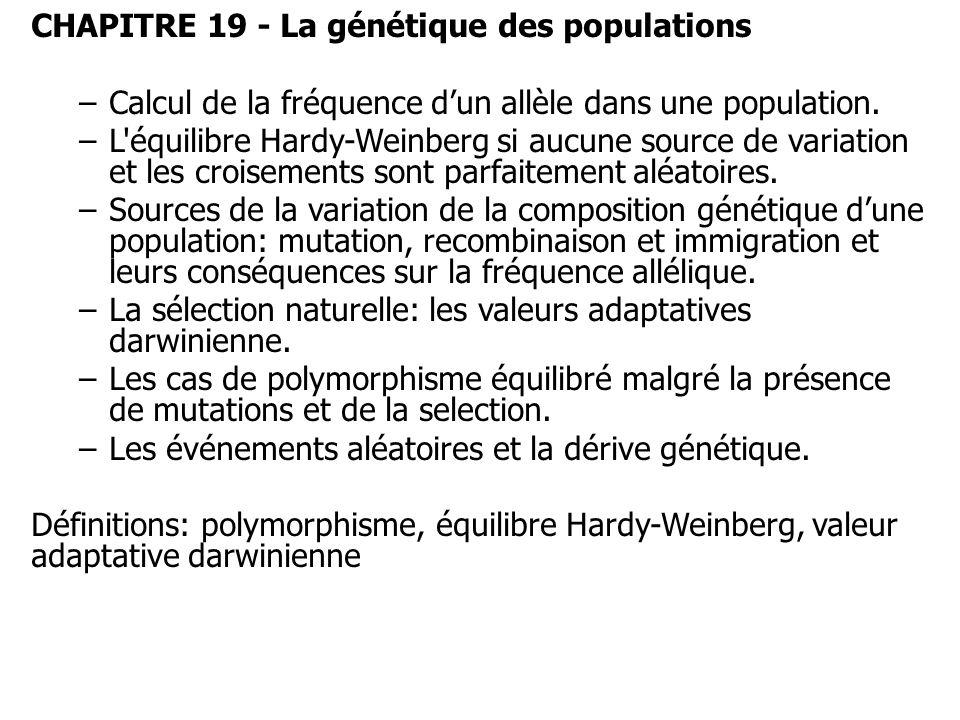 CHAPITRE 19 - La génétique des populations