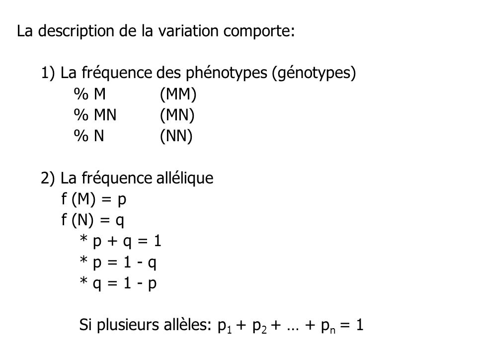 La description de la variation comporte: