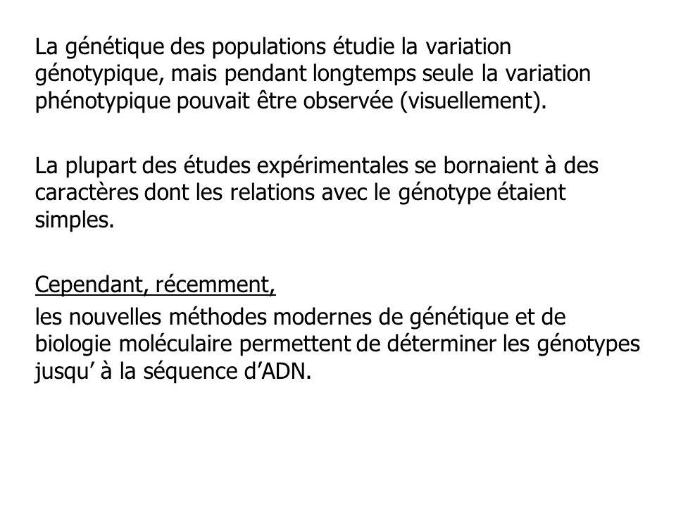 La génétique des populations étudie la variation génotypique, mais pendant longtemps seule la variation phénotypique pouvait être observée (visuellement).