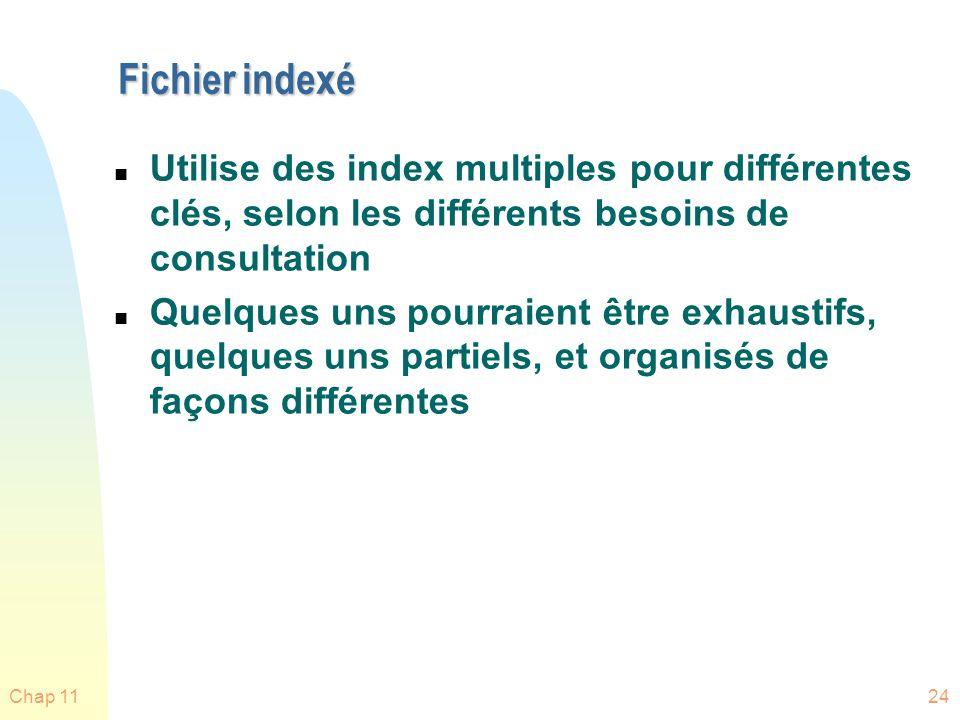 Fichier indexé Utilise des index multiples pour différentes clés, selon les différents besoins de consultation.