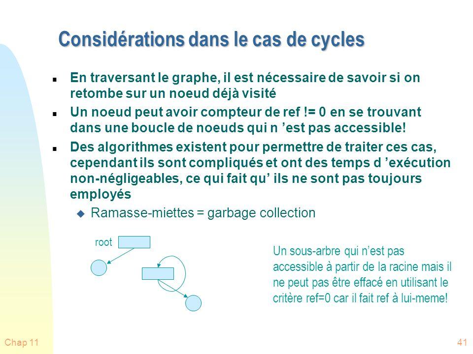 Considérations dans le cas de cycles