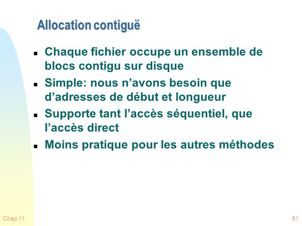 Allocation contiguë Chaque fichier occupe un ensemble de blocs contigu sur disque. Simple: nous n'avons besoin que d'adresses de début et longueur.