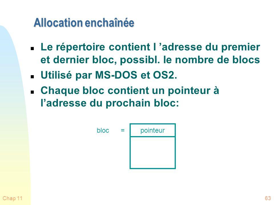 Allocation enchaînée Le répertoire contient l 'adresse du premier et dernier bloc, possibl. le nombre de blocs.