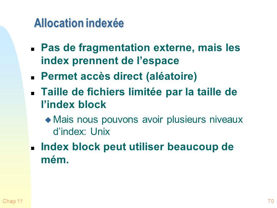 Allocation indexée Pas de fragmentation externe, mais les index prennent de l'espace. Permet accès direct (aléatoire)