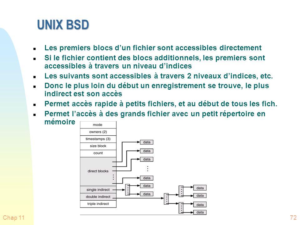 UNIX BSD Les premiers blocs d'un fichier sont accessibles directement