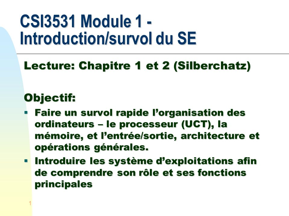 CSI3531 Module 1 - Introduction/survol du SE