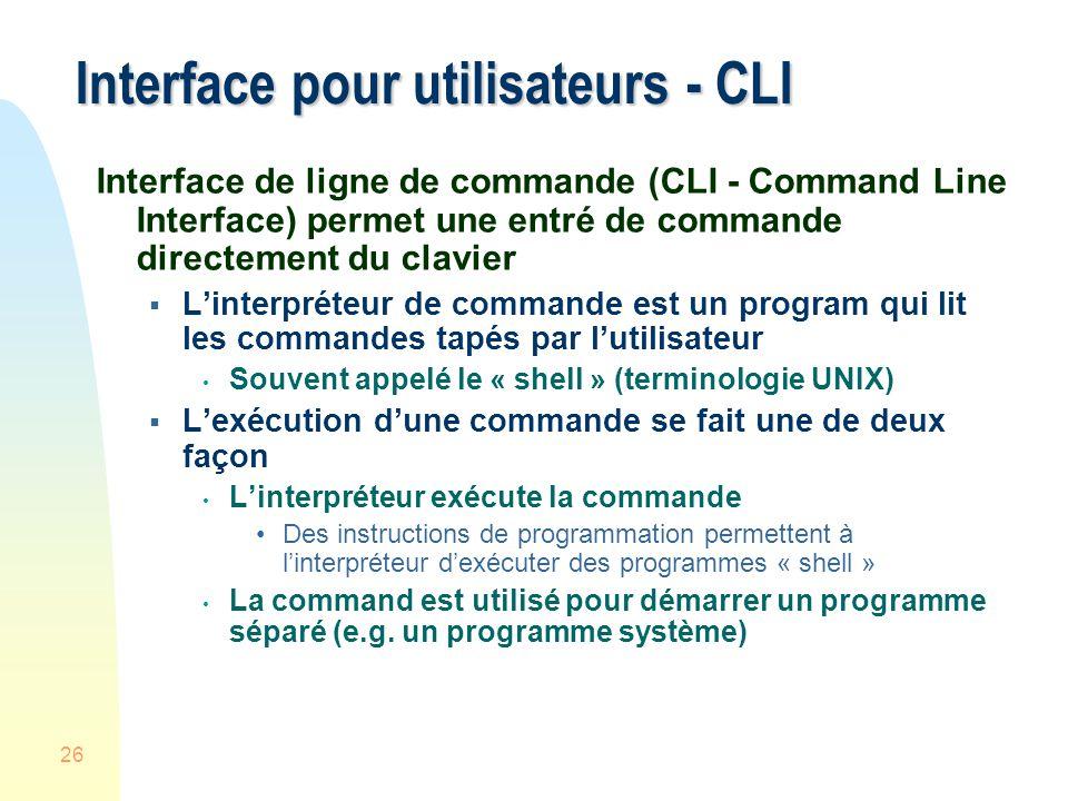 Interface pour utilisateurs - CLI