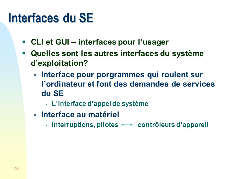 Interfaces du SE CLI et GUI – interfaces pour l'usager