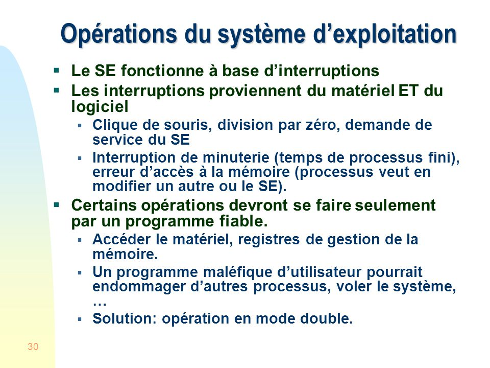 Opérations du système d'exploitation