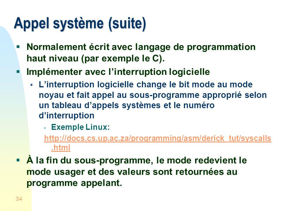 Appel système (suite) Normalement écrit avec langage de programmation haut niveau (par exemple le C).