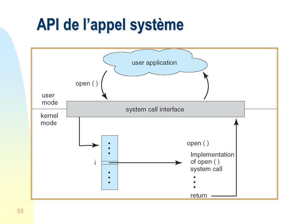 API de l'appel système