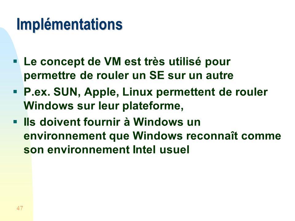 Implémentations Le concept de VM est très utilisé pour permettre de rouler un SE sur un autre.