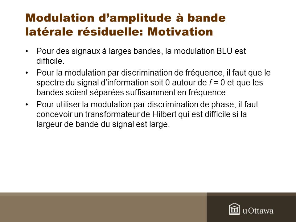 Modulation d'amplitude à bande latérale résiduelle: Motivation
