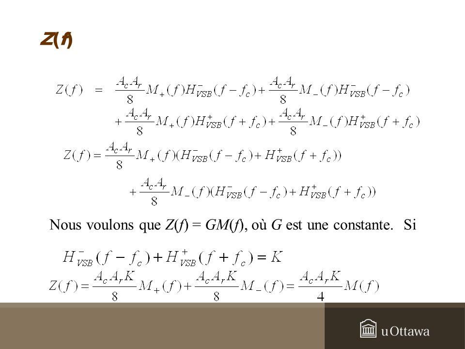 Z(f) Nous voulons que Z(f) = GM(f), où G est une constante. Si
