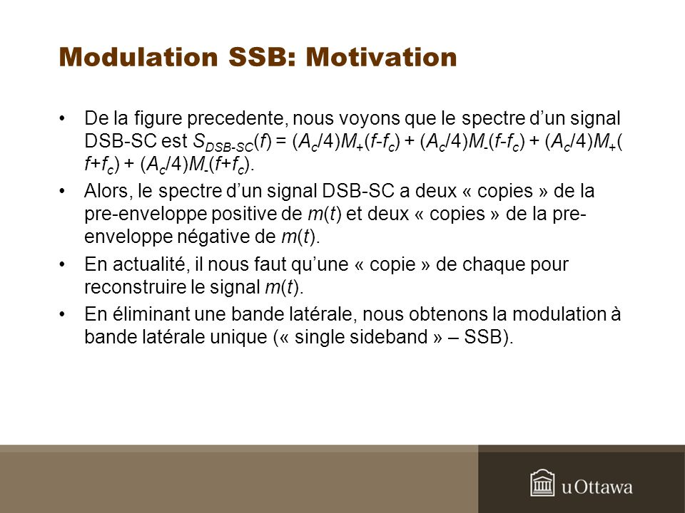 Modulation SSB: Motivation