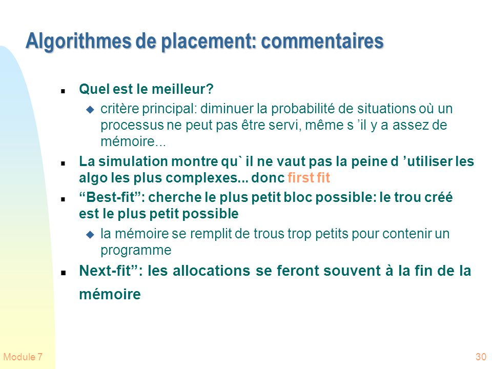 Algorithmes de placement: commentaires