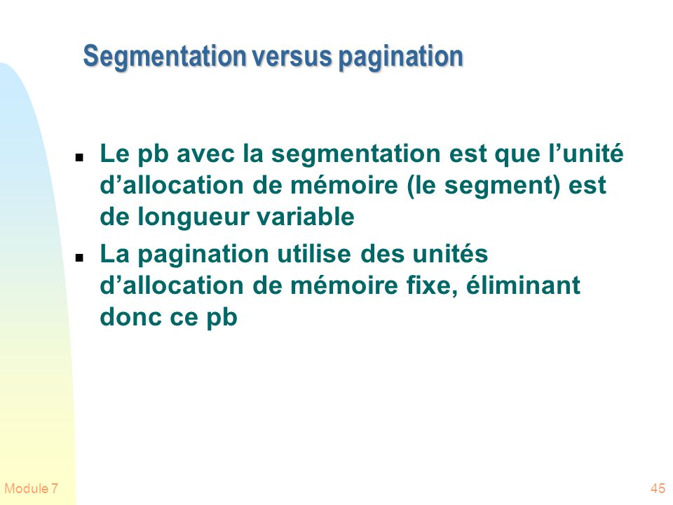 Segmentation versus pagination