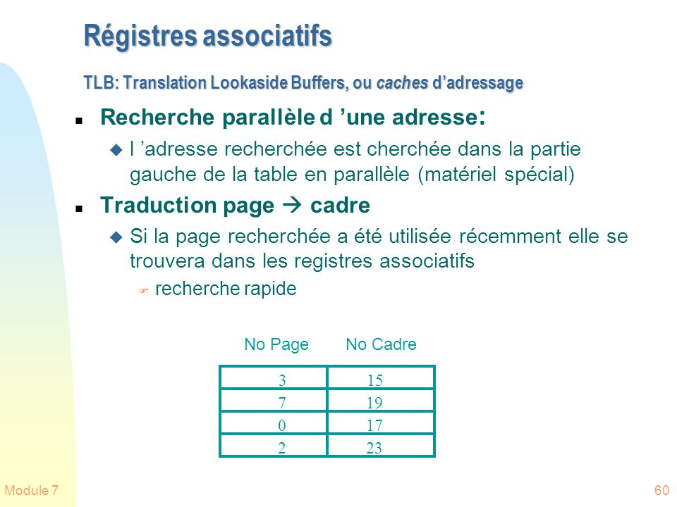 Régistres associatifs TLB: Translation Lookaside Buffers, ou caches d'adressage