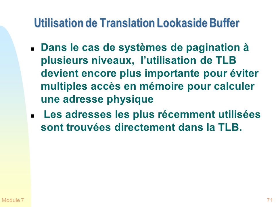 Utilisation de Translation Lookaside Buffer