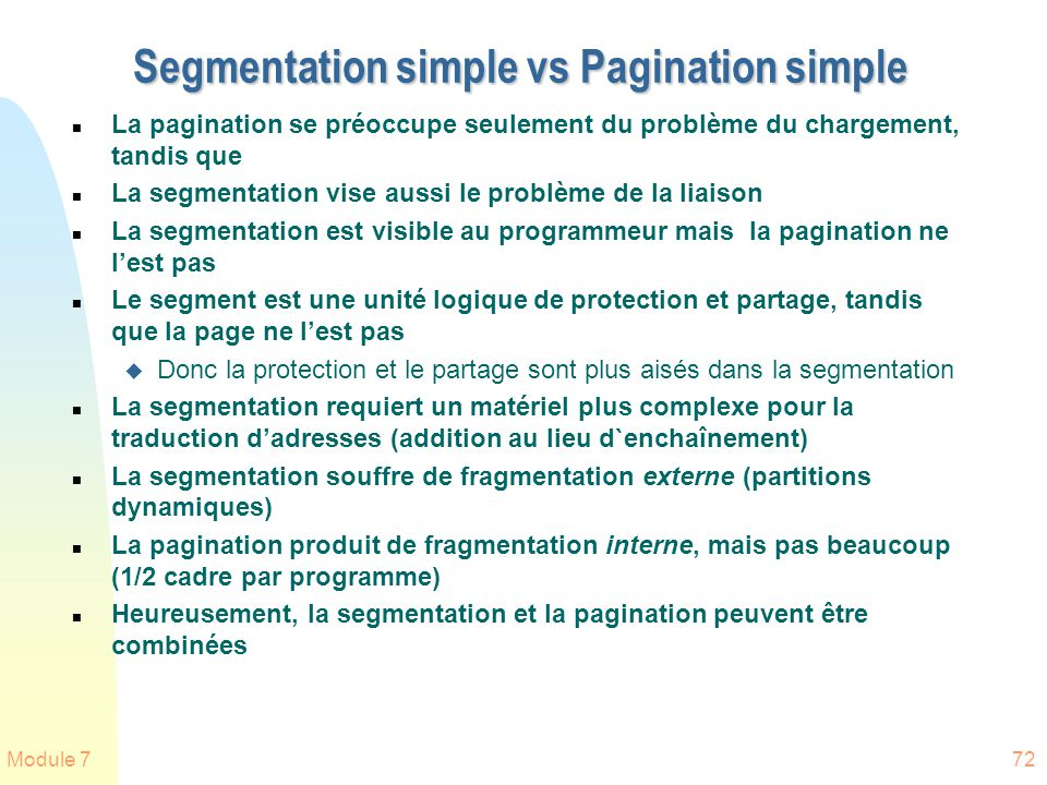 Segmentation simple vs Pagination simple