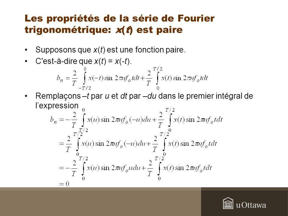 Les propriétés de la série de Fourier trigonométrique: x(t) est paire