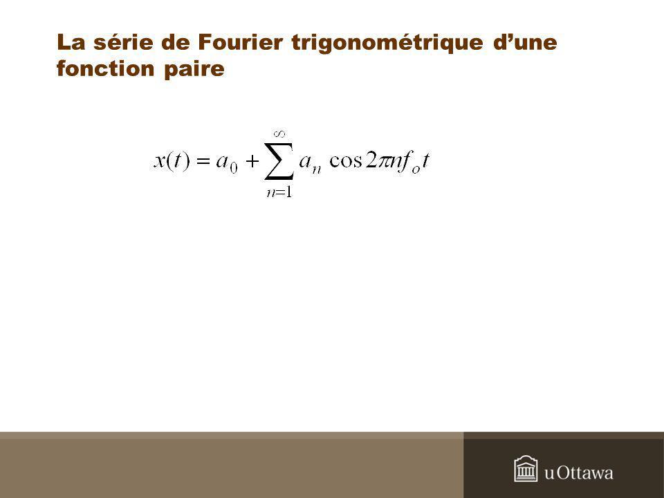 La série de Fourier trigonométrique d'une fonction paire