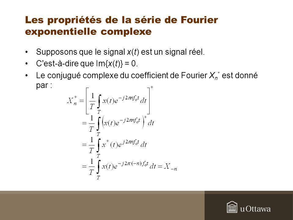 Les propriétés de la série de Fourier exponentielle complexe