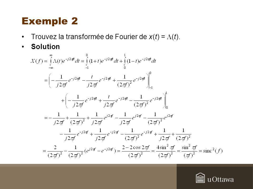 Exemple 2 Trouvez la transformée de Fourier de x(t) = L(t). Solution
