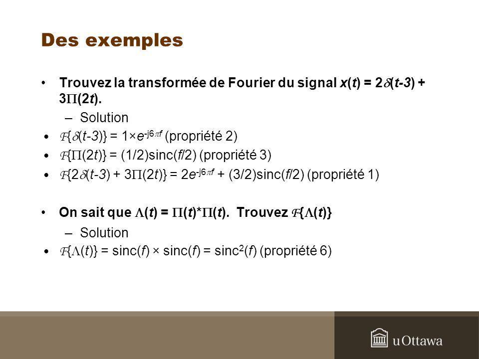 Des exemples Trouvez la transformée de Fourier du signal x(t) = 2d(t-3) + 3P(2t). Solution. F{d(t-3)} = 1×e-j6pf (propriété 2)
