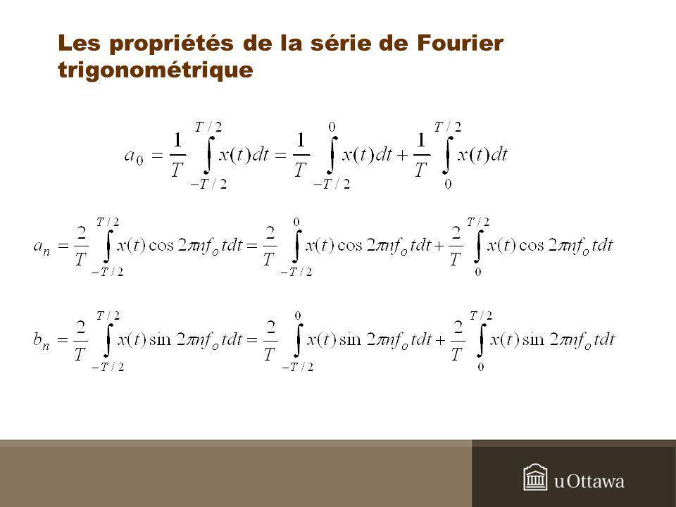Les propriétés de la série de Fourier trigonométrique