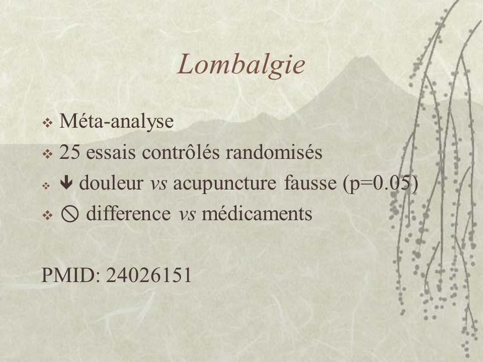 Lombalgie Méta-analyse 25 essais contrôlés randomisés