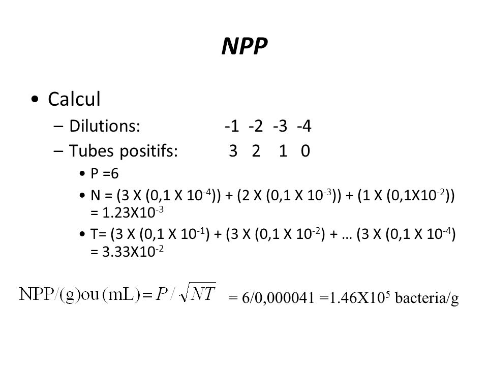 NPP Calcul Dilutions: -1 -2 -3 -4 Tubes positifs: 3 2 1 0 P =6