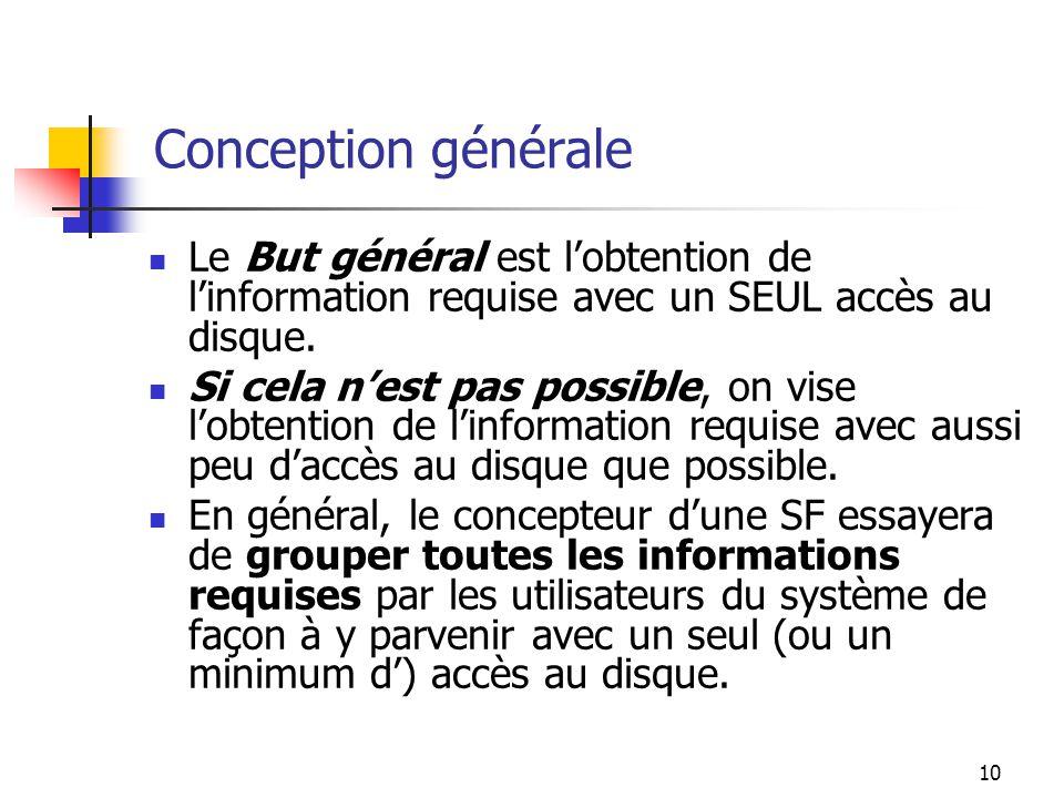 Conception générale Le But général est l'obtention de l'information requise avec un SEUL accès au disque.