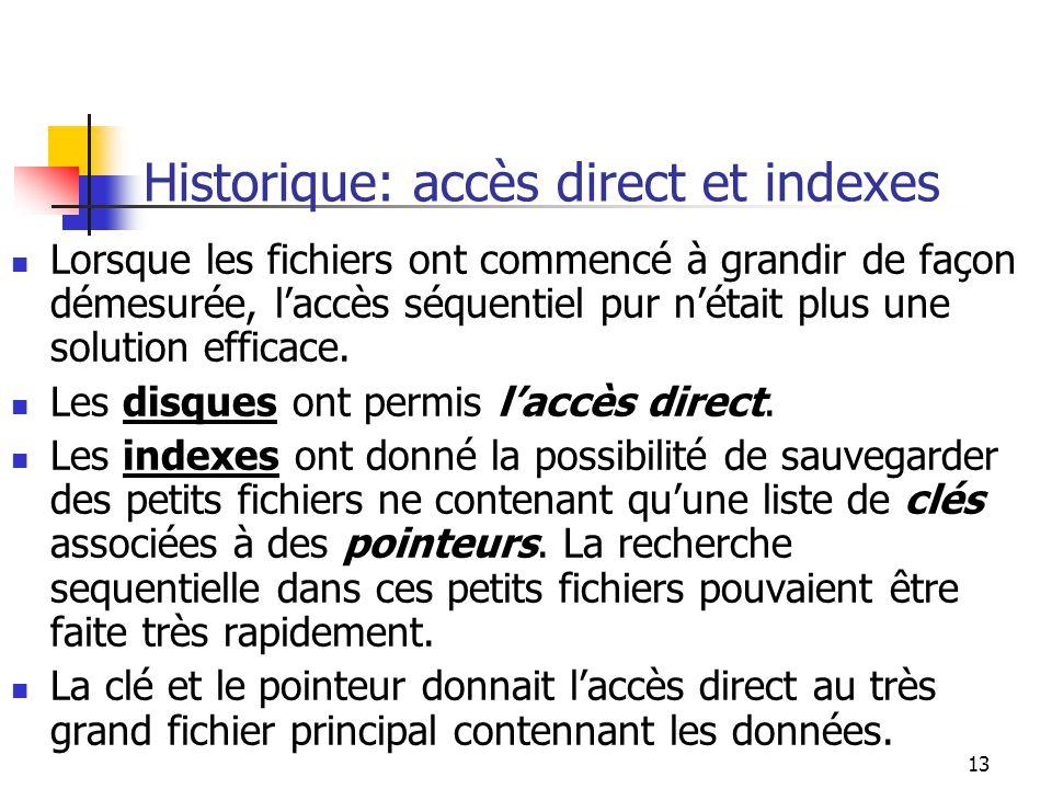Historique: accès direct et indexes