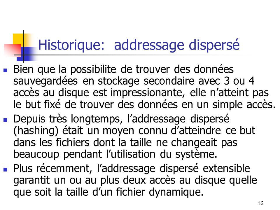 Historique: addressage dispersé