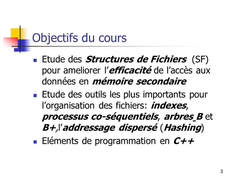 Objectifs du cours Etude des Structures de Fichiers (SF) pour ameliorer l'efficacité de l'accès aux données en mémoire secondaire.