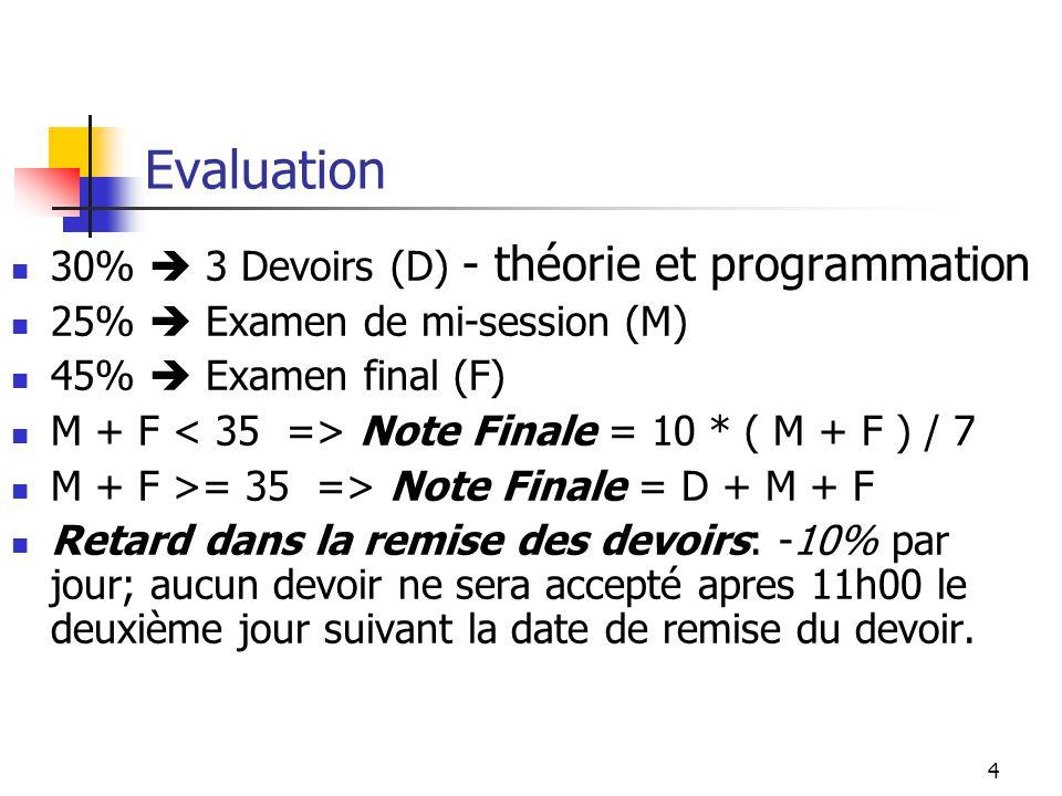 Evaluation 30%  3 Devoirs (D) - théorie et programmation