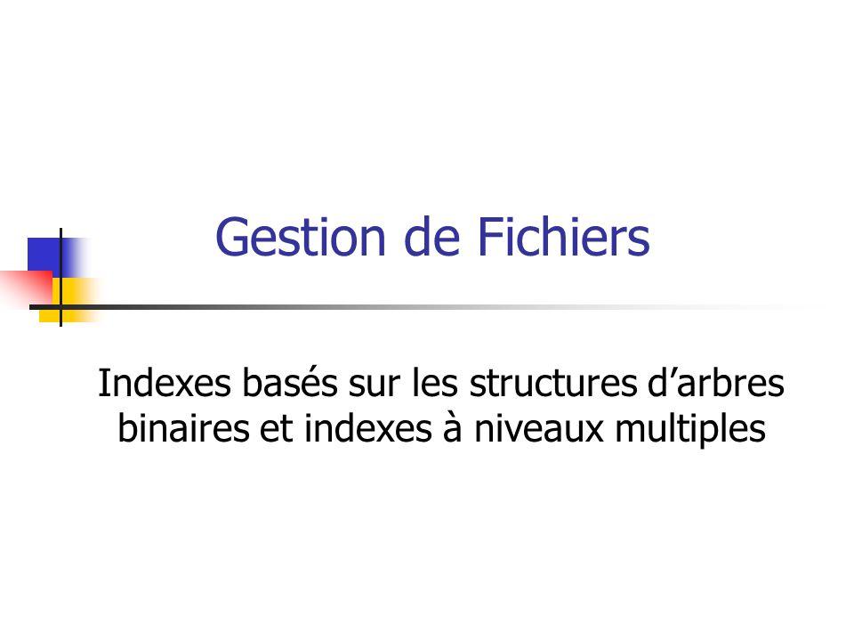 Gestion de Fichiers Indexes basés sur les structures d'arbres binaires et indexes à niveaux multiples.