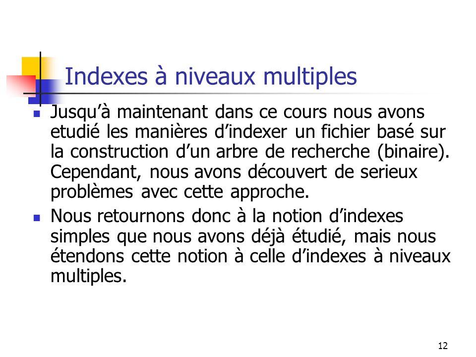 Indexes à niveaux multiples