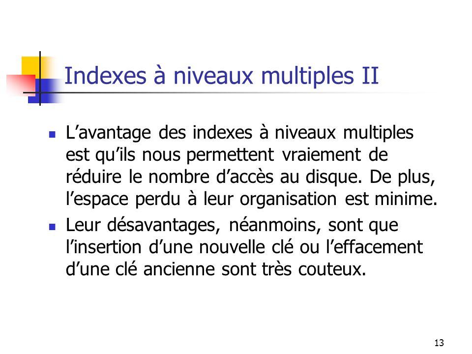 Indexes à niveaux multiples II