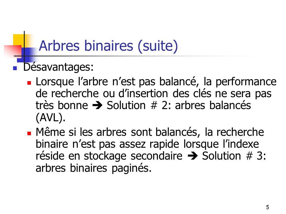 Arbres binaires (suite)