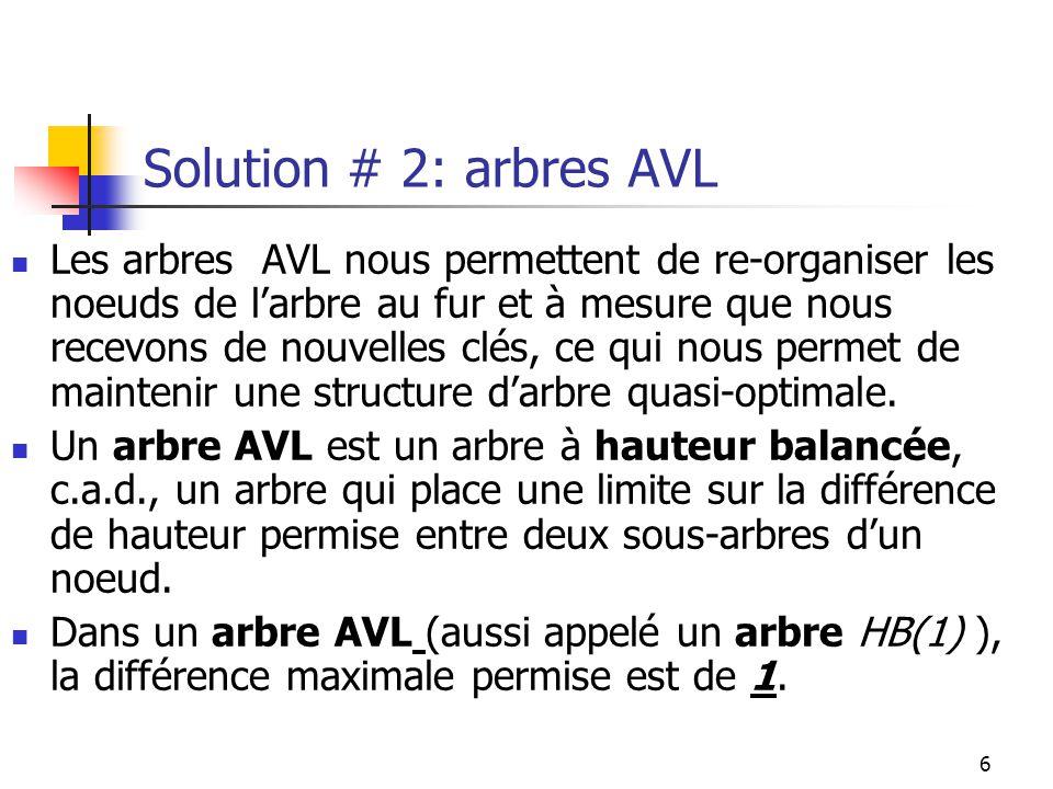Solution # 2: arbres AVL