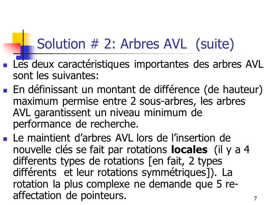 Solution # 2: Arbres AVL (suite)